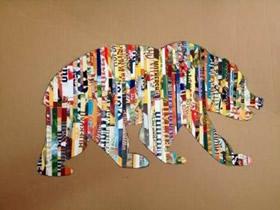怎么做熊的拼贴画图解 旧杂志制作大熊贴画