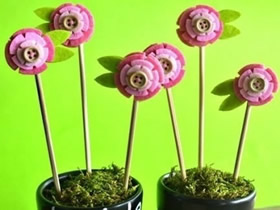 怎么做不织布小花盆栽 布艺花朵盆栽装饰DIY