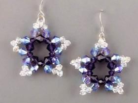 怎么做串珠五角星图解 串珠雪花耳环制作方法