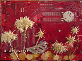 怎么再利用废旧电路板 电路板贴树叶干花创意