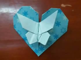蝴蝶心怎么折的教程 折纸带蝴蝶爱心图解