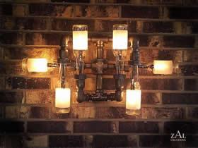 创意个性酒吧灯饰图片 啤酒瓶和钢管DIY而成