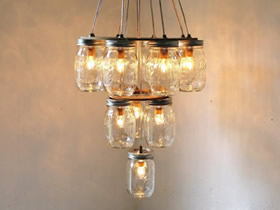 玻璃罐怎么做灯饰图片 玻璃瓶废物利用DIY吊灯