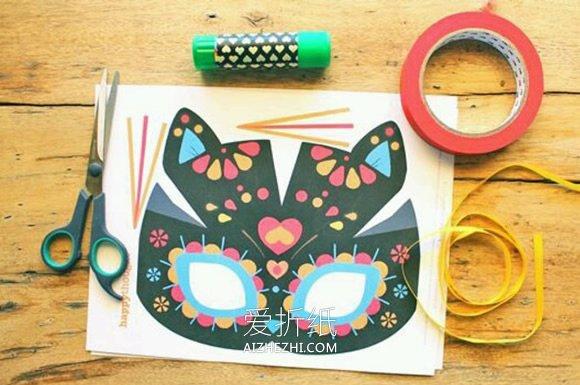 幼儿园简单面具卡纸_怎么做猫咪面具图解 儿童手工制作动物面具_爱折纸网