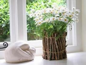 怎么做田园风花瓶图解 树枝废物利用制作花瓶