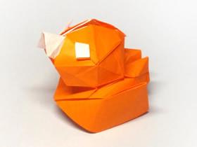 怎么折纸立体小鸭子 复杂卡通鸭子的折法图解