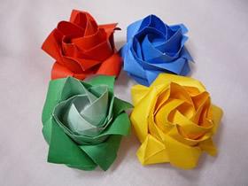 纸玫瑰花怎么折教程 清晰实拍玫瑰花折纸图解