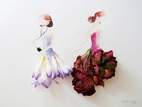用鲜花装饰水彩画 DIY出穿裙子的漂亮女生