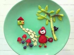 可爱的水果点心摆盘图片 可以和孩子一起玩!