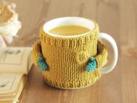 手工编织可爱风毛线杯套图片 暖手又暖心!