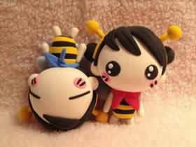 超萌的粘土小男孩女孩图片 变身快乐小蜜蜂