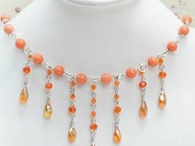 怎么做新娘串珠项链图解 橙色串珠项链手工制作