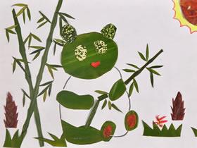 怎么做树叶贴画图片 树叶粘贴动物手工制作