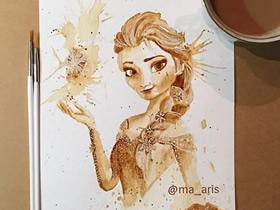 怎么DIY咖啡画作品 咖啡画画的图片欣赏