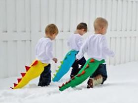 怎么做恐龙玩具图解 手工布艺恐龙尾巴玩具