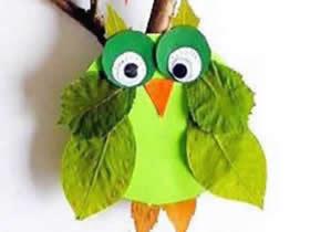 怎么做猫头鹰的方法 树叶卡纸制作猫头鹰图片