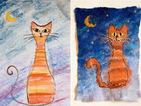 怎么做羊毛毡画图解 羊毛手工制作月夜猫咪画