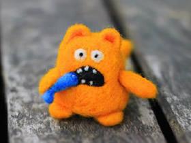 搞笑羊毛毡猫咪图片 手工制作毛绒猫咪玩偶