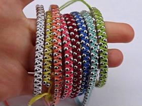 怎么做民族风手链图解 棉绳珠链编织手链方法
