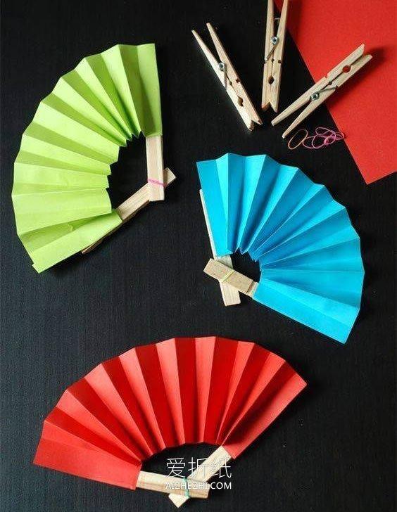用卡纸做手工食物_怎么做简单的纸扇图解 儿童纸扇子手工制作_爱折纸网