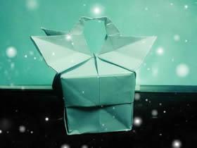 怎么折纸情人节礼品盒 带纸鹤浪漫纸盒折法