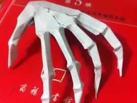 怎么折纸骷髅手骨图解 万圣节恶搞手骨的折法