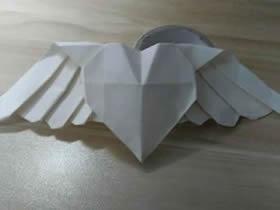 怎么折纸带翅膀爱心 最漂亮翅膀心的折法图解