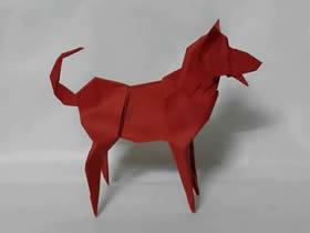 怎么折纸逼真的狗狗 复杂立体狗狗的折法图解
