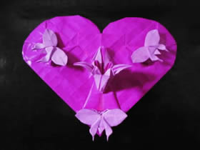 怎么折纸蝶恋花的方法 蝶恋花爱心折纸图解