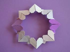怎么折纸爱心花环图解 爱心组合花环的做法