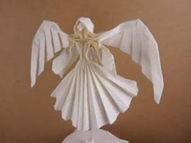 怎么折带翅膀天使图解 手工折纸立体天使步骤