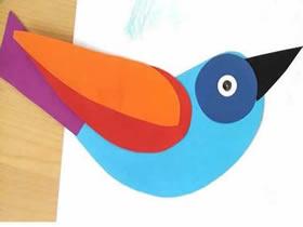 怎么贴纸制作可爱小鸟 彩色卡纸贴小鸟图片