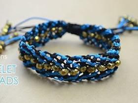 怎么编织时尚手链图解 带串珠双色手链的编法