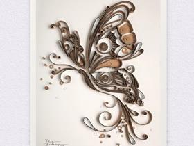 怎么做衍纸蝴蝶图解 瓦楞纸变废为宝制作衍纸画