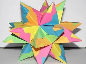 怎么折纸立体星芒星星 带尖角纸花球的折法