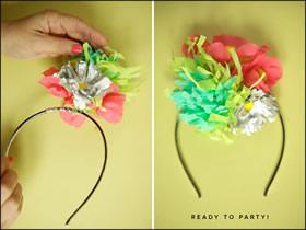 怎么做纸花发箍图解 皱纹纸花朵发饰手工制作