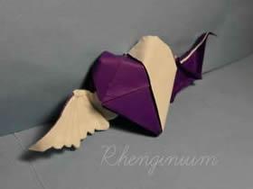 怎么折纸天使恶魔心 详细双色爱心的折法图解