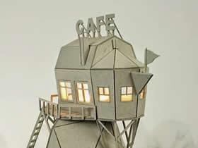 怎么用硬纸板做创意灯罩 手工硬纸板房屋灯罩