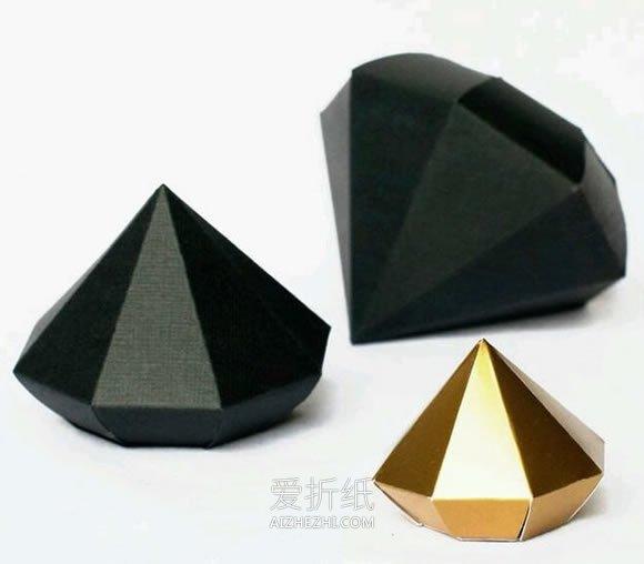 怎么做立体纸钻石方法 卡纸手工制作钻石图纸- www.aizhezhi.com