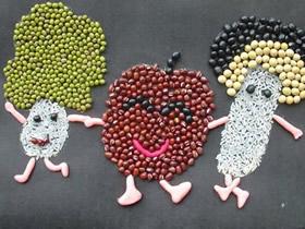 怎么做豆子拼贴画图片 儿童豆贴画作品欣赏