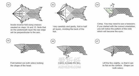怎么折纸立体鲤鱼图解 手工复杂鲤鱼折法步骤- www.aizhezhi.com