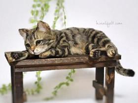 手工制作羊毛毡猫咪 可爱逼真到令人难以相信