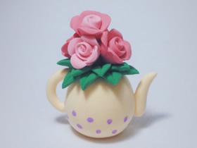 怎么做粘土茶壶花瓶 超轻粘土制作玫瑰花插花