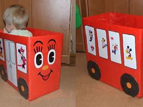 怎么做纸箱汽车图解 废纸箱制作儿童玩具车