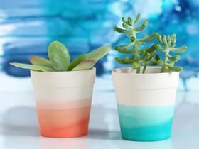 怎么自制可爱小陶盆 简单染色制作花盆的方法