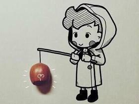 水果成为画的一部分 生动有趣的卡通画图片