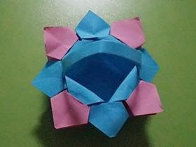 怎么折纸小花篮的方法 手工简单纸花篮的折法