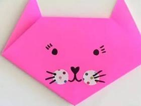 怎么简单折纸猫脸图解 儿童手工猫脸的折法