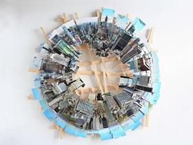 怎么做城市模型 多张照片拼接城市的立体纸雕