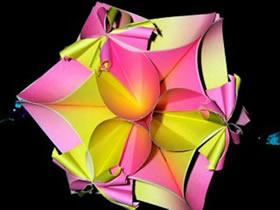 怎么折纸四瓣花花球 手工四个花瓣花球的折法